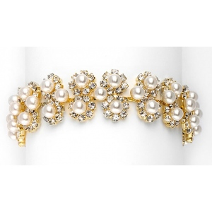 Mariell Ivory Pearl & Gold Rhinestone Bridal Bracelet with Daisies