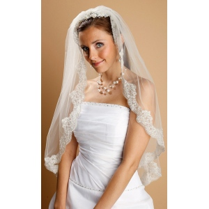 Mariell Mantilla Lace Wedding Veil Threaded with Silver Chain