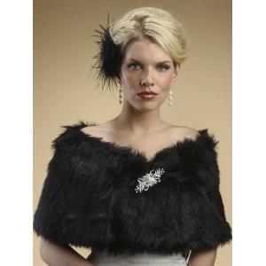 Mariell Faux Fur Shawl with Jet Black Fox