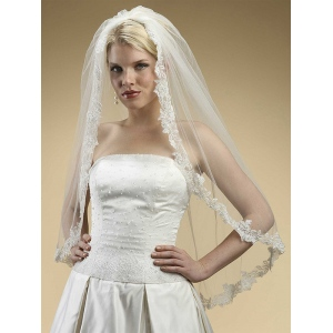 Mariell Alencon Lace Embroidered Mantilla Wedding Veil