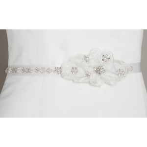 Mariell Pearl and Crystal Flower Cluster Bridal Sash: White