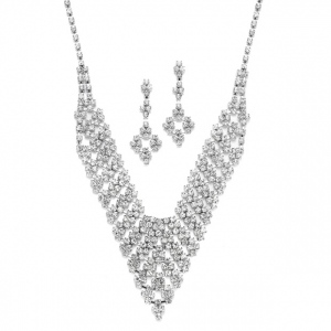 Mariell Rhinestone Vintage Bib Necklace & Earrings Set