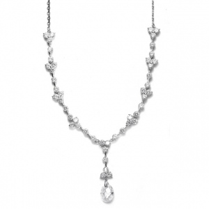 Mariell CZ Bridal Necklace with Faceted Crystal Drop