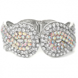 Mariell Iridescent Crystal Wedding Or Prom Cuff Bracelet