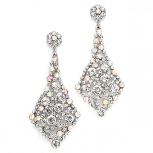 Mariell Iridescent AB Crystal Wholesale Bridal Or Prom Earrings