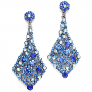 Mariell Royal Blue Crystal Bridesmaids Or Prom Earrings