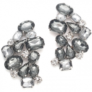 Mariell Wedding Faux Gem Black Diamond Cluster Earrings