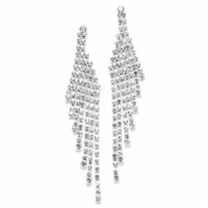 Mariell Cascading Rhinestone Prom Or Wedding Earrings