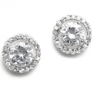 Mariell Bridal Earrings with Bold CZ Solitaire