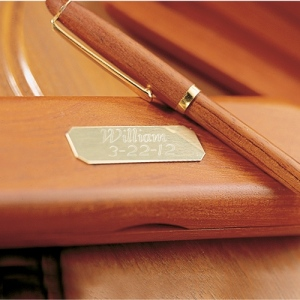 JDS Personalized Genuine Pen and Case: Rosewood