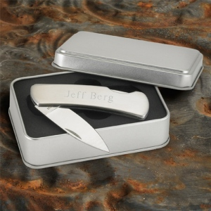 JDS Personalized Lock-Back Knife: Stainless Steel
