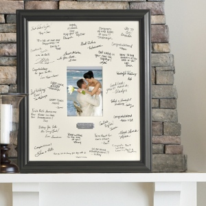 JDS Personalized Wedding Wishes Signature Frame with Engraved Plate