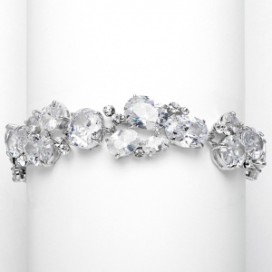 Mariell Exquisite Bridal Or Evening Bracelet with Multi Cubic Zirconia Shapes