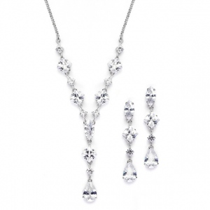 Mariell Glamorous Mixed Cubic Zirconia Wedding Necklace & Earrings Set