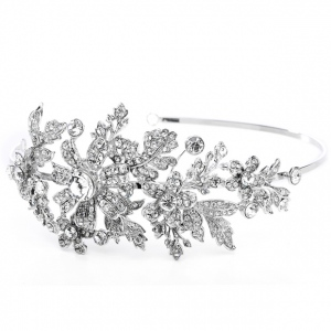 Mariell Crystal Wedding Headband Or Tiara with Side Floral Design