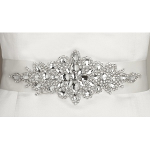 Mariell Opulent White Satin Bridal Sash with Crystal Starburst