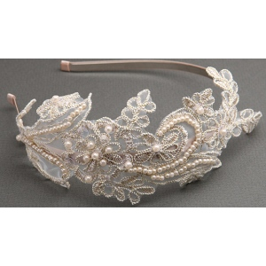 Mariell Vintage Champagne Lace Headband with Pearls & Sequins