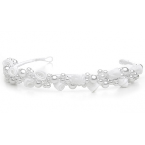 Mariell Child's White/Silver Floral Headband Or Tiara