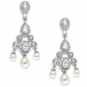 Mariell Cubic Zirconia Bridal Chandelier with Pearl Drops