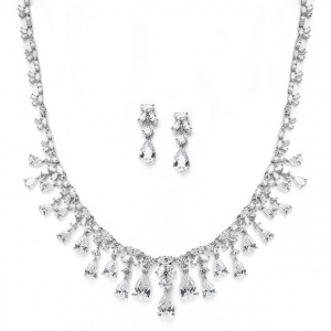 Mariell Glamorous Cubic Zirconia Teardrops Wedding Necklace & Earrings Set