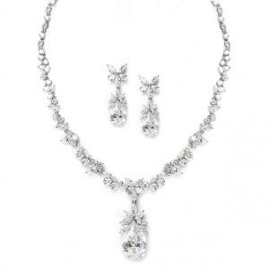 Mariell Cubic Zirconia Royal Wedding Teardrop Necklace Set
