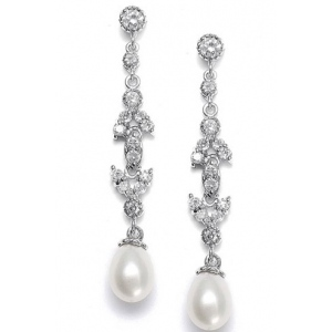 Mariell Linear Freshwater Pearl Vintage Bridal Earrings