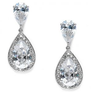 Mariell Brilliant Double Teardrop Wedding Earrings