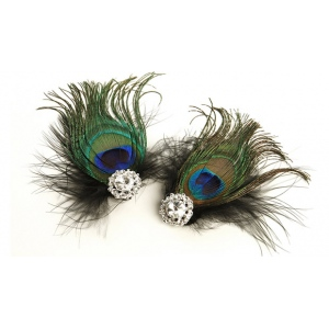 Mariell Peacock Feather & Black Marabou Shoe Clips with Crystal