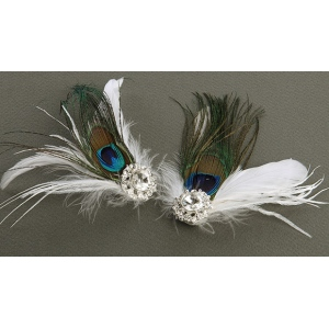 Mariell Peacock Feather & White Marabou Shoe Clips with Crystal