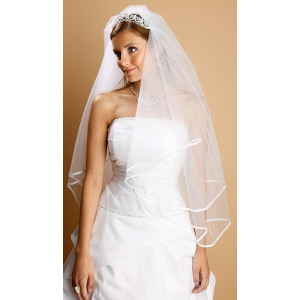Mariell 2-Tier Circular Cut Wedding Veil with Folded Satin Ribbon Edging