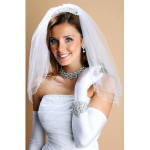 Mariell Scattered Pearl & Sequin 2-Layer Sheer Bridal Or Flower Girl Veil