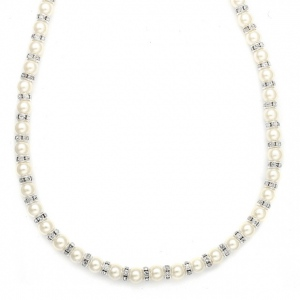 Mariell Alternating Pearl and Rondelle Wedding Necklace
