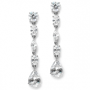 Mariell Linear Cubic Zirconia Wedding Or Prom Dangle Earrings
