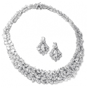 Mariell Ravishing Cubic Zirconia Wedding Necklace Set