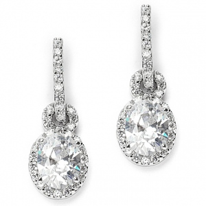 Mariell Oval Cubic Zirconia Wedding or Bridesmaids Drop Earrings