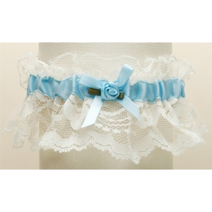 Mariell Hand-Sewn Vintage Lace Wedding Garters: Ivory with Blue