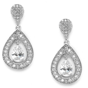 Mariell Chic Cubic Zirconia Bridal Earrings with Framed Pear Drops