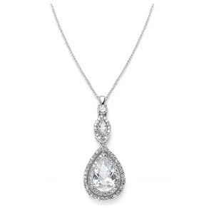 Mariell Cubic Zirconia Bridal Necklace Pendant with Framed Pear
