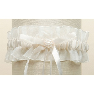 Mariell Ivory Organza Wedding Garter with Satin Ribbon & Pearls