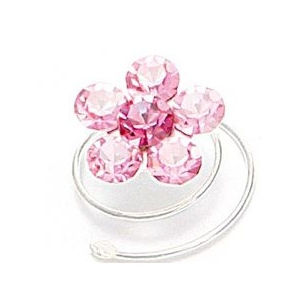 Mariell Prom Or Bridesmaid Crystal Flower Hair Spirals: Light Rose