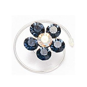 Mariell Prom Or Bridesmaid Crystal Flower Hair Spirals: Montana Navy
