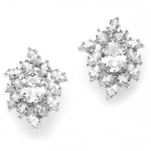 Mariell Brilliant Oval & Marquise Cluster Wedding Or Bridal Cubic Zirconia Earrings