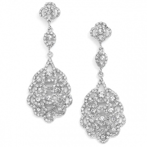 Mariell Antique Silver Vintage Bridal Chandelier Earrings with Crystal