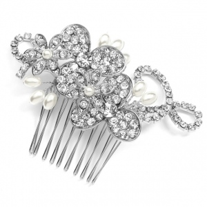 Mariell Antique floral Bridal Comb with Freshwater Pearl Sprays & Graceful Rhinestone Vines