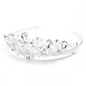 Mariell Handmade Bridal Tiara with Faceteed Crystal Beads, Bold Pears and Soft Cream Pearls