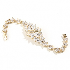 Mariell Cubic Zirconia Cluster Gold Bridal Bracelet with Dainty Marquis Stones
