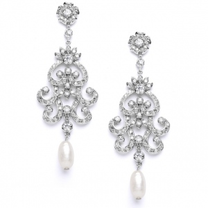 Mariell Vintage Chandelier Wedding Or Bridal Earrings with Cubic Zirconia & Freshwater Pearls