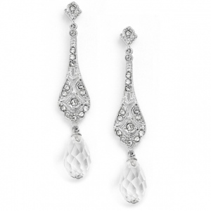 Mariell Dainty Art Deco Cubic Zirconia Bridal Or Prom Earrings with Crystal Dangles