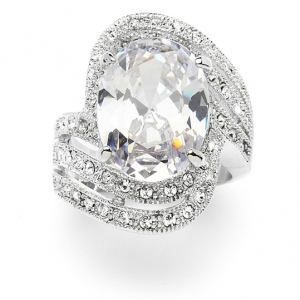 Mariell Vintage Glamour Art Deco Cocktail Ring with 10 Ct. Oval Cubic Zirconia Bling: 6""