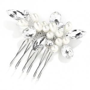 Mariell Crystal and Pearl Hand-Made Wedding Hair Comb